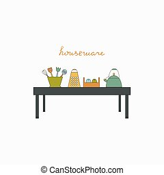 Houseware color elements. Kichen vector illustration.