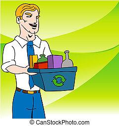 reciclagem, homem negócios