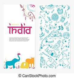 ?????? - Welcome to India brochure. Hand drawing elements of...