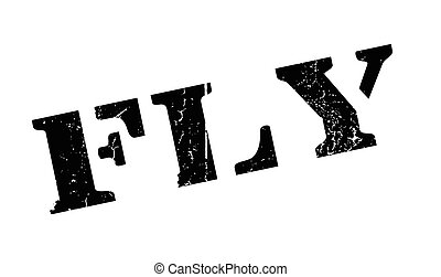 Fly rubber stamp. Grunge design with dust scratches. Effects...