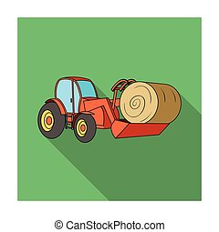 Orange tractor with a ladle transporting hay bale. Agricultural vehicles.Agricultural Machinery single icon in flat style vector symbol stock illustration.