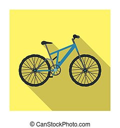Mountain bike. Cycling downhill from the mountains.Different Bicycle single icon in flat style vector symbol stock illustration.
