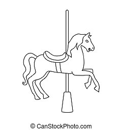 Carousel for children. Horse on the pole for riding.Amusement park single icon in outline style vector symbol stock illustration.