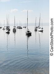 Boats at Rest - Moored Sailboats on a Calm Bavarian Lake