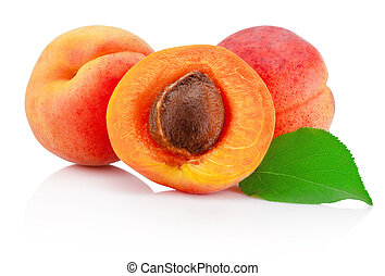 Fresh cut apricot fruits with leaf isolated on white background