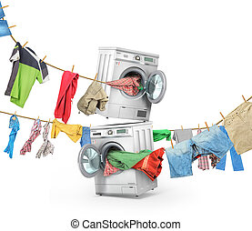 The big washing concept. Clothing on the ropes rushes from...