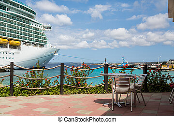 Tropical Patio with Cruise Ship in Background