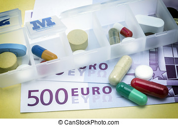 capsules up ticket euro, concept of health copay - capsules...