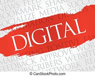 Digital word cloud, technology business concept background