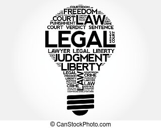 Legal bulb word cloud collage, concept background