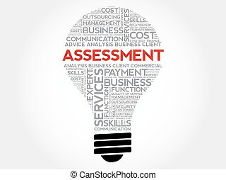 Assessment bulb word cloud, business concept background