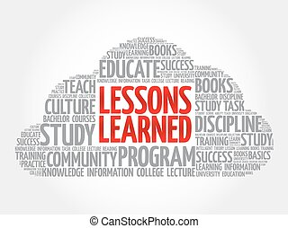 Lessons Learned word cloud collage, education concept...