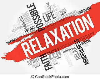 Relaxation word cloud collage, concept background