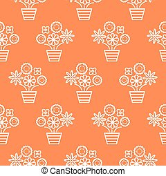 Coral orange and white line flower pots seamless vector....