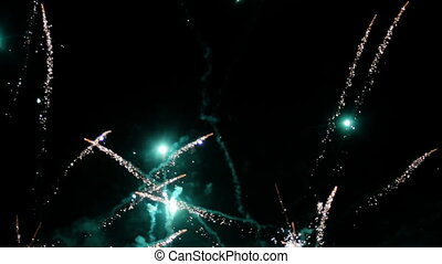 festive colorful fireworks in the night