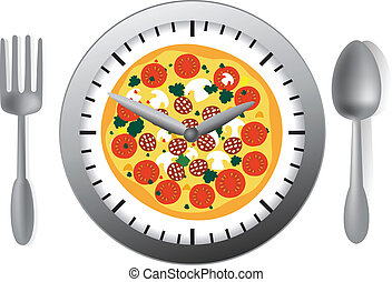 Meal time - Vector illustration with clock and pizza