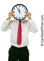 Clock manager in front of the head with stress. Working in the office.