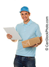 Messenger of messenger service delivers parcel - A messenger...