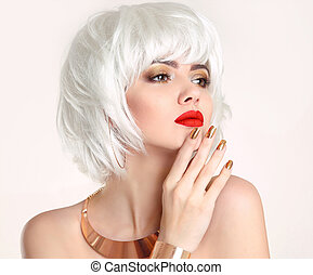 Blonde bob hairstyle. Blond hair. Fashion Beauty Girl...