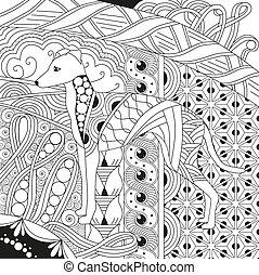 Zentangle stylized dog. Hand Drawn lace vector illustration...