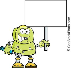 Cartoon robot holding a wrench and a sign. - Cartoon...