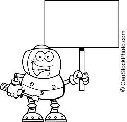 Cartoon robot holding a wrench and a sign. - Black and white...