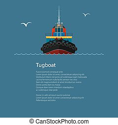 Front View of Tugboat and Text - Front View of the Vessel...
