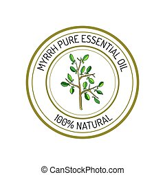 Essential oil label - Myrrh, essential oil label, aromatic...