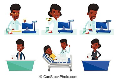 Vector set of doctor and media characters. - African...