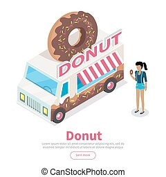Donut conceptual Isometric Vector Web Banner - Girl with...