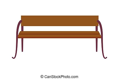 Wooden Standard Bench Isolated on White Background - Wooden...