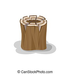 Stacked Wood Isolated Vector. Firewood Elements - Wooden...