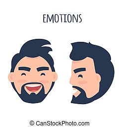Happy Emotion. Face from Different Angles Vector - Men...