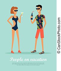 People on Vacation Drinking Cocktails on Rest. - People on...