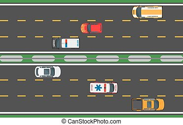 Six Fast Vehicles Driving on Road Background.