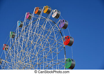 colorful ferris wheel for luna park - detail of a colorful...