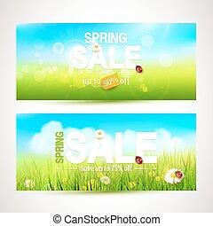 Spring sale headers - Vector set of two spring sale headers...