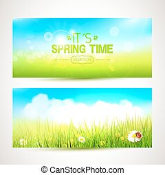 Spring banners or headers - Vector set of two spring banners...