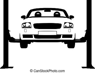Car Ramp - Illustration of a car on a hydraulic ramp