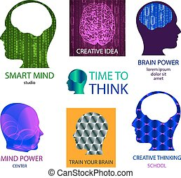 VECTOR set of icons: smart mind studio, mind power center, time to think, creative idea, brain power, train your brain, creative thinking school.