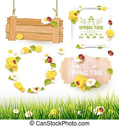 Spring elements collection - Spring collection of labels,...
