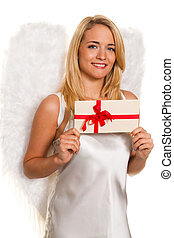Angels for Christmas with packages and gifts - Blonde Angel...