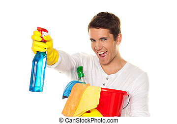 Man with polish. Cleaning the apartment. Home - Man with...