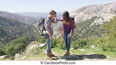 Romantic couple having fun in nature - Young loving man...