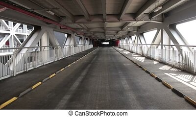 Empty parking lot tunnel road. Industrial interior - Access...