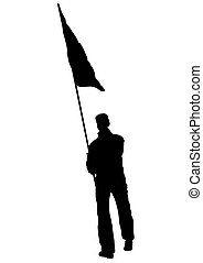 People whit flag four - People of with large flags on white...