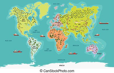 world map vector illustration - World Map color highly...