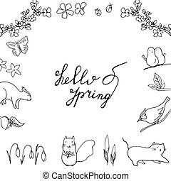 Hello Spring hand drawn lettering with flora and fauna.