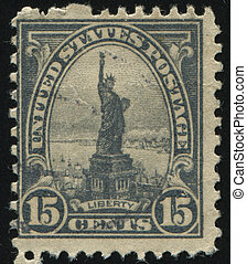postmark - UNITED STATES - CIRCA 1920: stamp printed by...