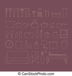 Houseware vector elements. Homewares isolated line icon set.